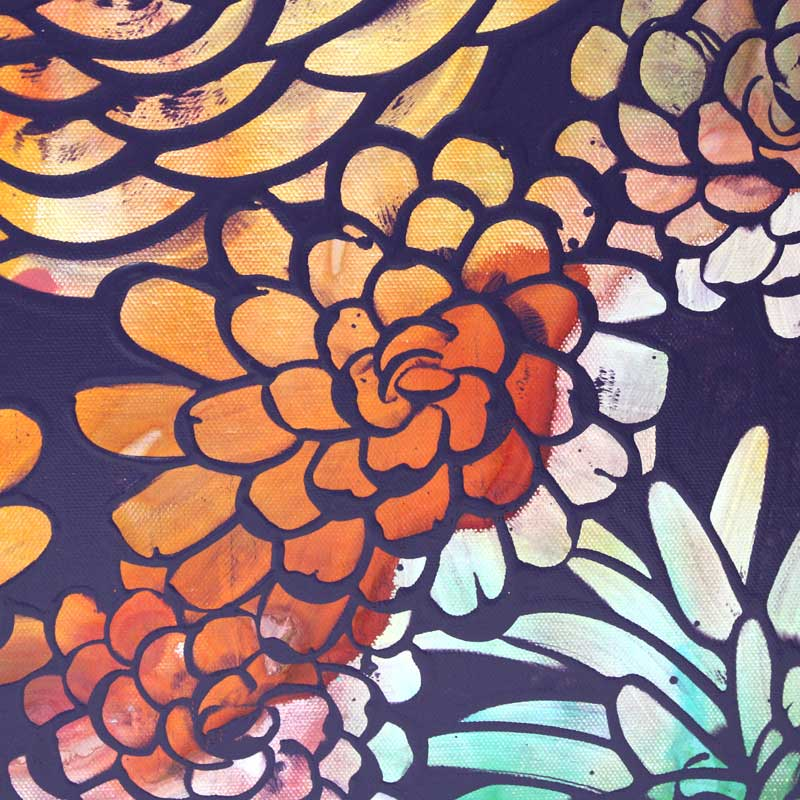 Close up of wall art of tropical dahlia flowers