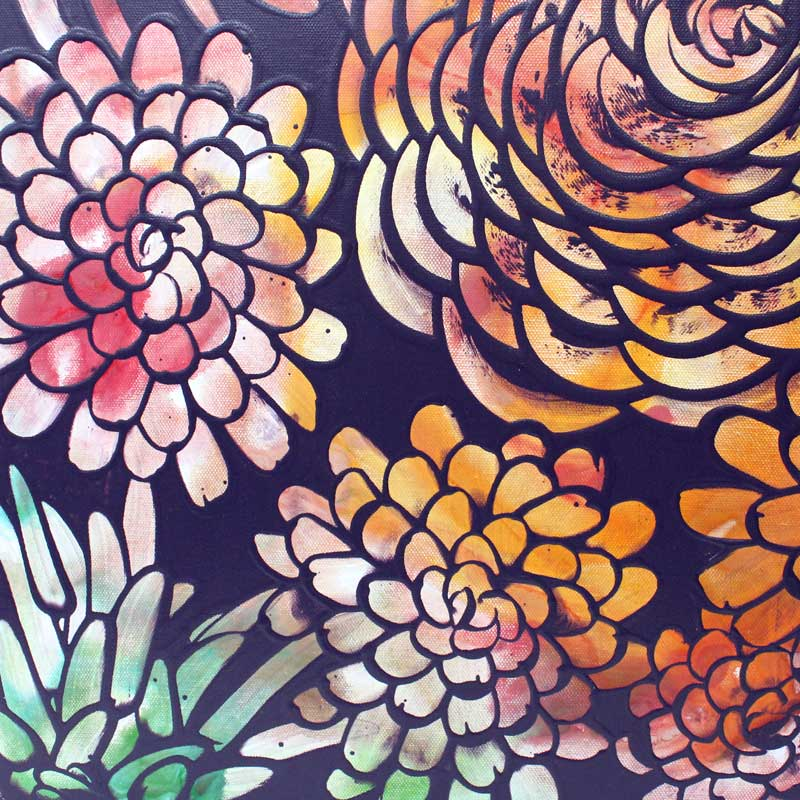Details on wall art of tropical dahlia flowers
