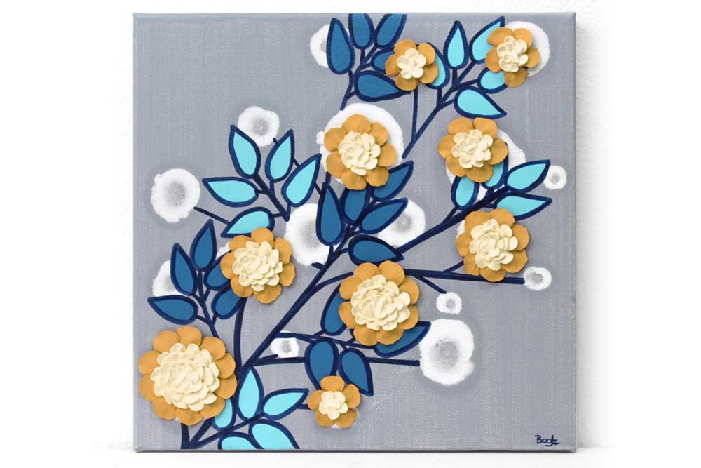 Wall art of flower branch in yellow, aqua, and indigo
