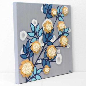Flower Wall Art Original Painting in Gray, Blue, Yellow – Small