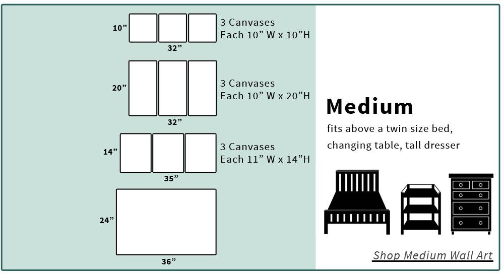 Medium canvas art size chart