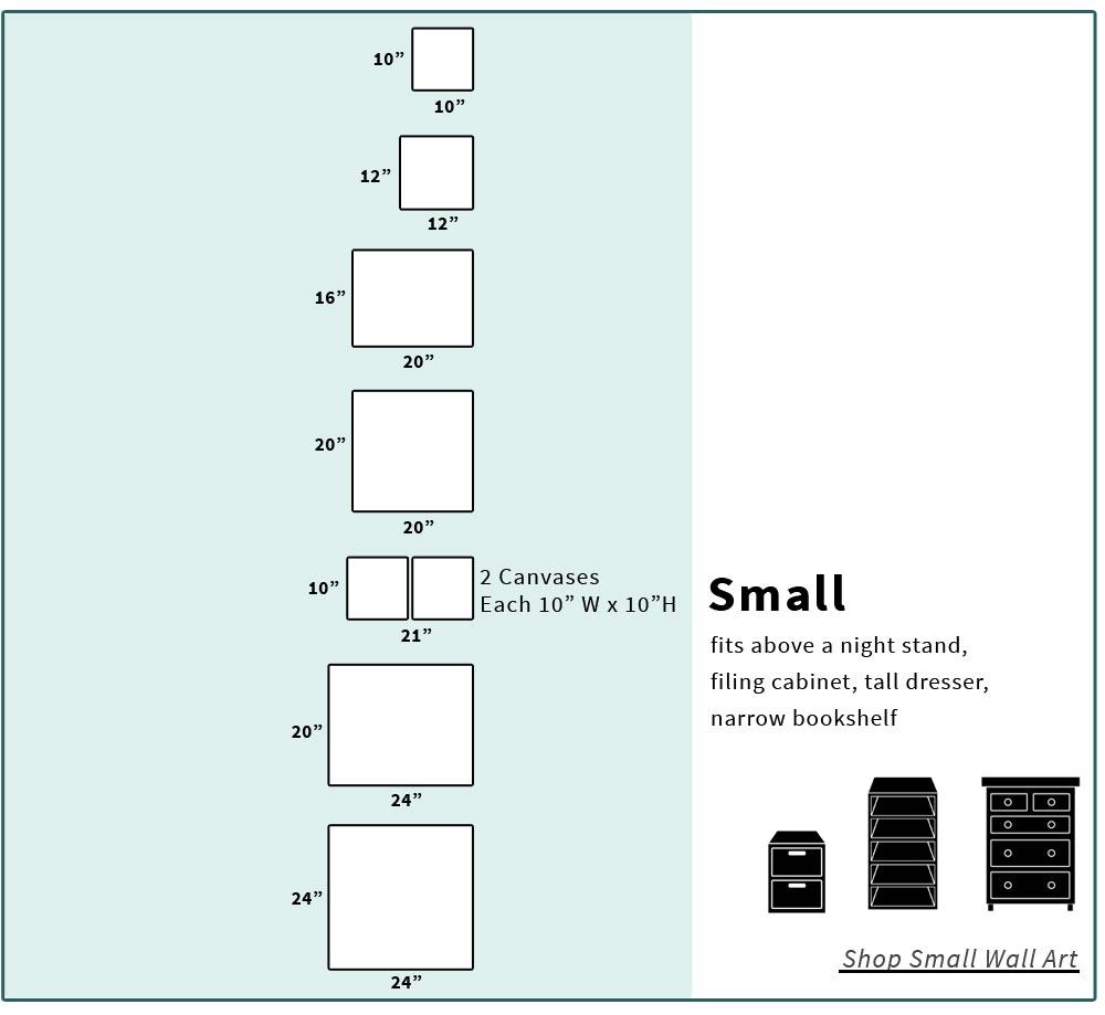 Small canvas art size chart