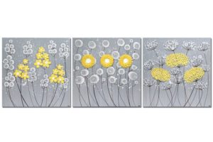 Wall Art Flower Triptych Painting in Gray, Yellow – Extra Large