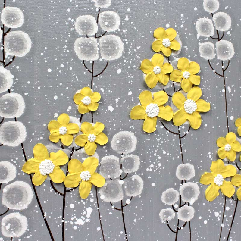 Center view of extra large wall art of gray and yellow flowers