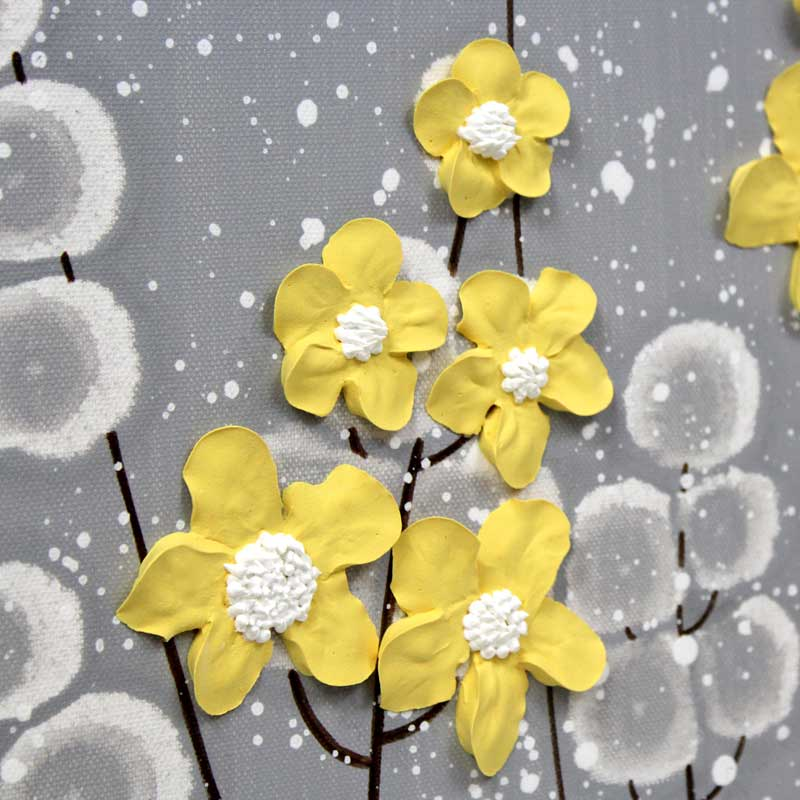 Sculpted wildflower on extra large wall art of gray and yellow flowers