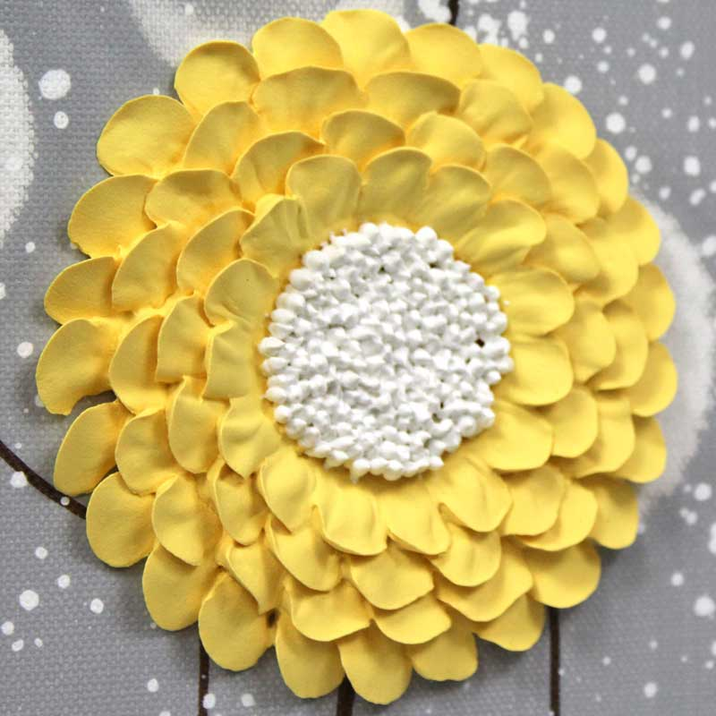 Sculpted zinnia on extra large wall art of gray and yellow flowers