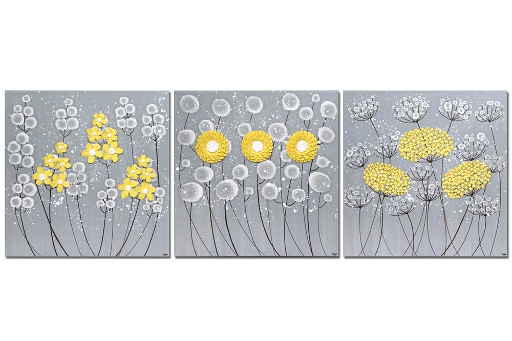 Extra large wall art of gray and yellow flowers