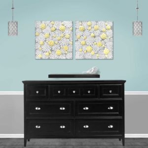 Set of 2 Dahlia Flower Canvas Paintings in Gray, Yellow – Large