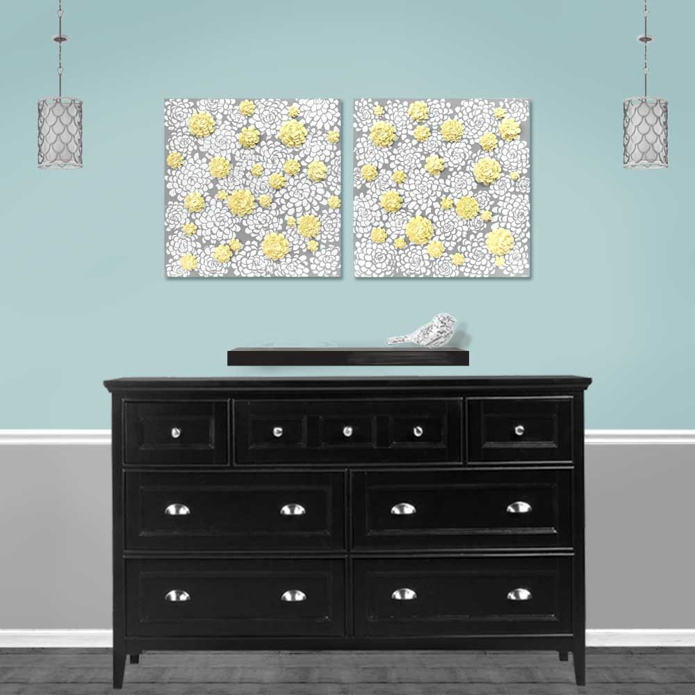 Setting of wall art gray and yellow dahlia flowers