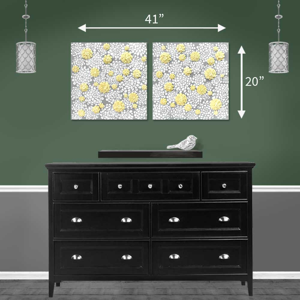 Size guide for wall art gray and yellow dahlia flowers
