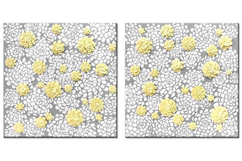 Wall art gray and yellow dahlia flowers