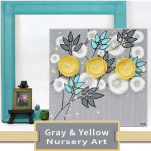 Gray & Yellow Nursery Art