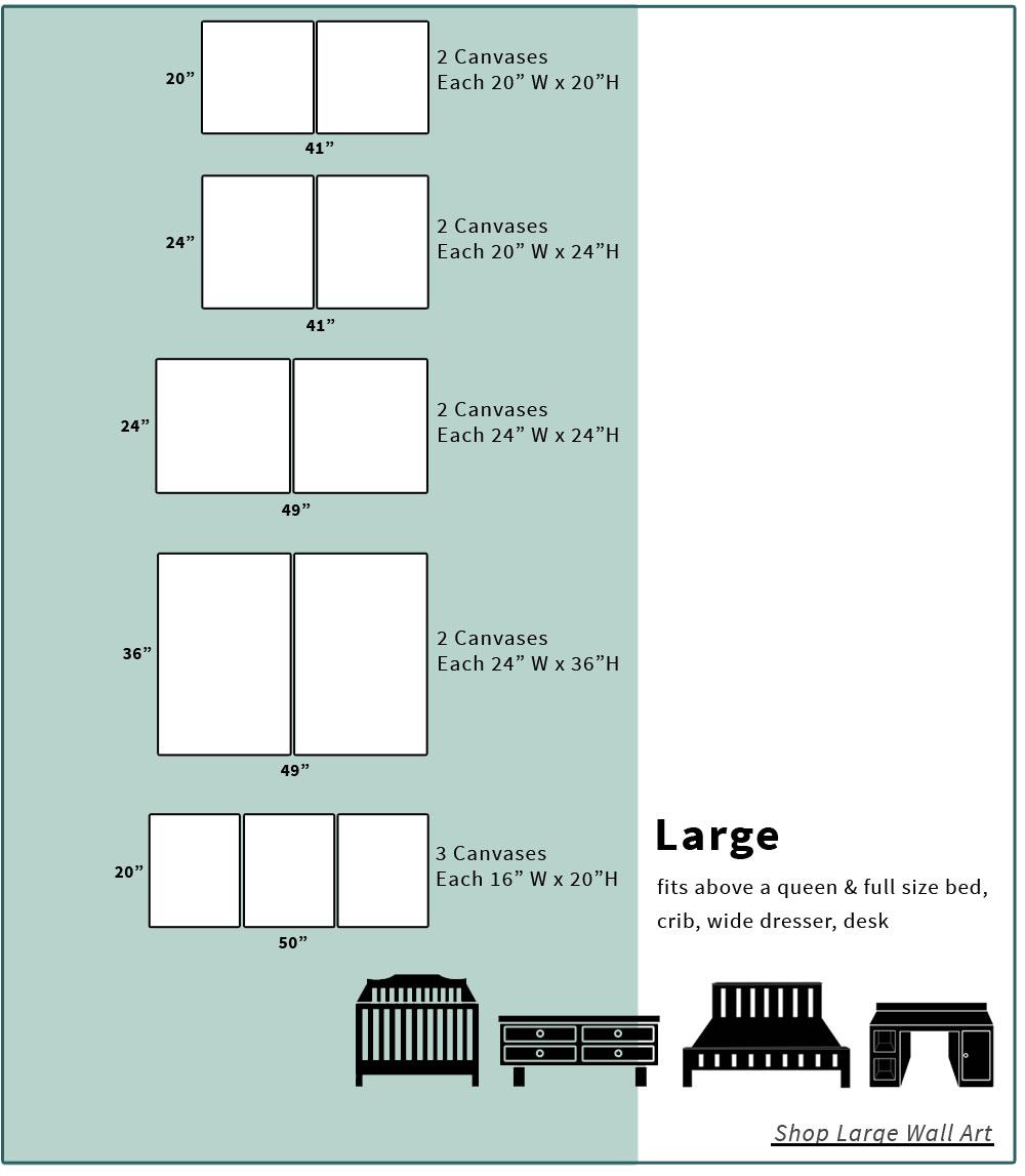 Large canvas art size chart