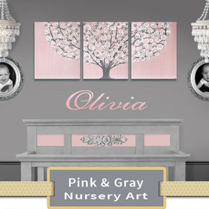 Pink & Gray Nursery Art