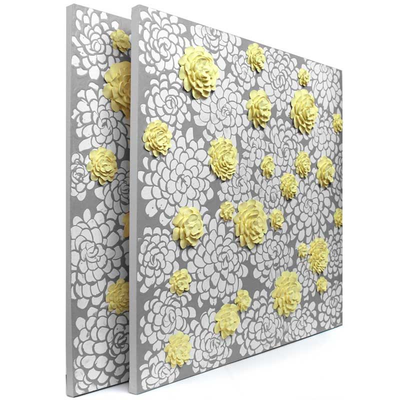 Side view of wall art gray and yellow dahlia flowers