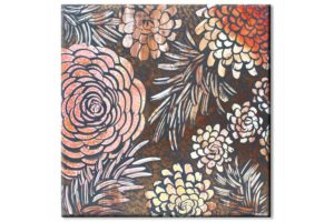Wall art of tangerine and copper dahlias