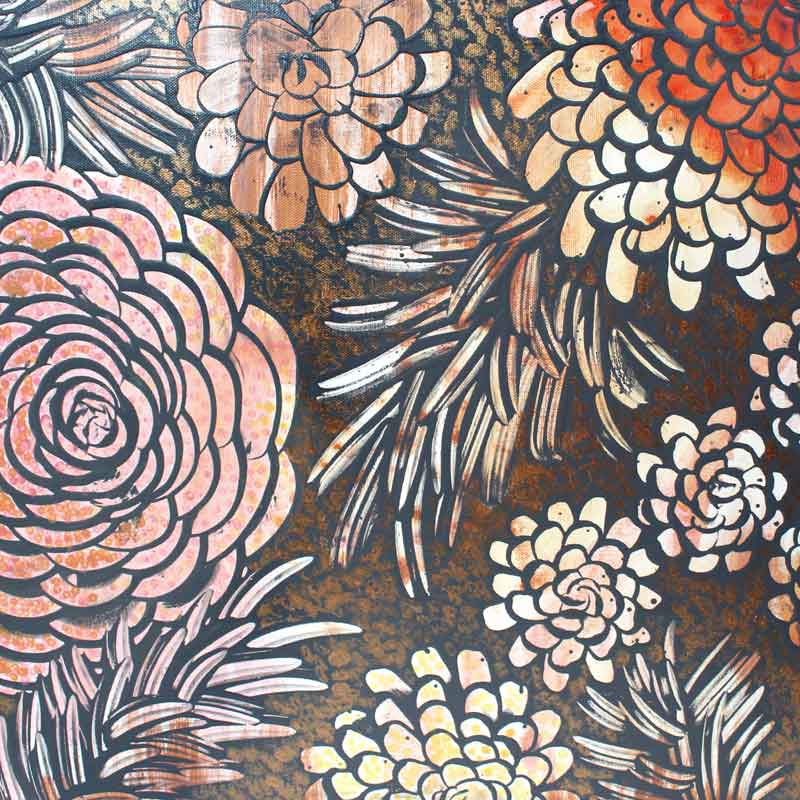 Center view of wall art of tangerine and copper dahlias