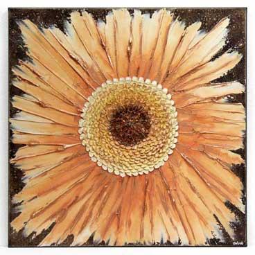 20x20 wall art of textured orange zinnia flowers