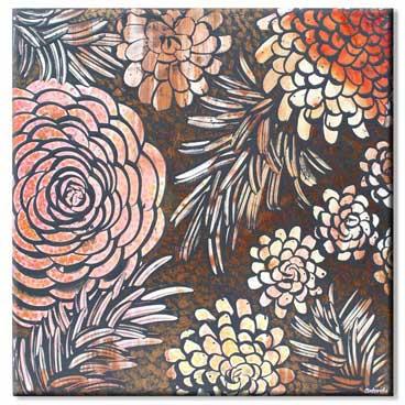 20x20 wall art of tangerine orange dahlia flowers