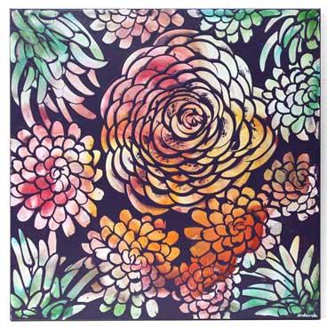 20x20 wall art of tropical dahlia flowers