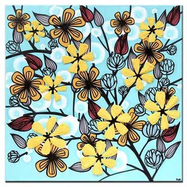 20x20 wall art of yellow and aqua wildflowers
