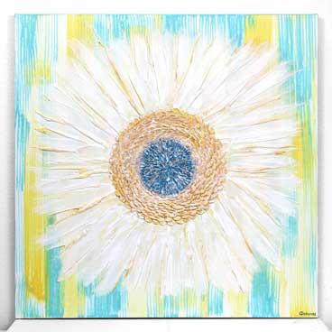 24x24 wall art of aqua and yellow zinnia flower