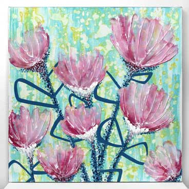 24x24 wall art of pink and blue spring flowers