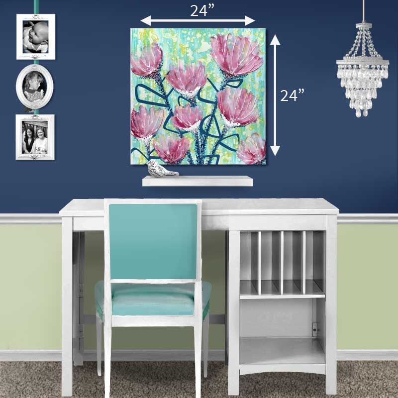 Size guide of wall art of spring flowers in pink and blue