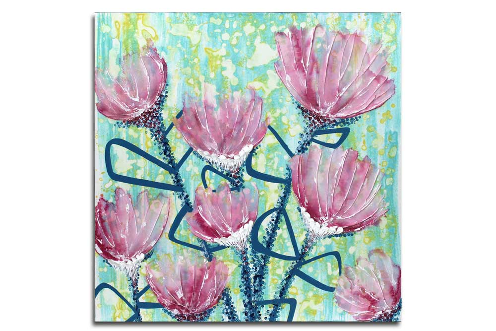 Wall art of spring flowers in pink and blue