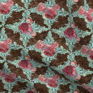Boho style roses in teal lattice pattern on brown stone