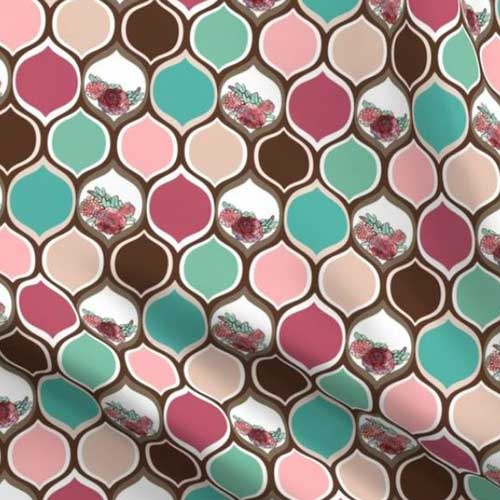 Ogee pattern with roses in teal and pink boho mod style