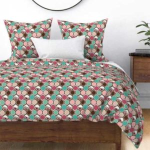 Fabric & Wallpaper: Boho Modern Roses on Ogee Pattern