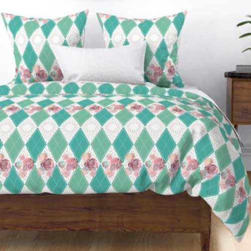 Duvet with boho roses and harlequin
