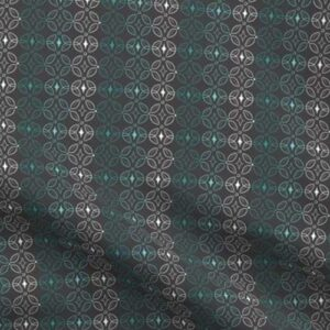 Fabric & Wallpaper: Geometric Butterfly in Teal, Gray