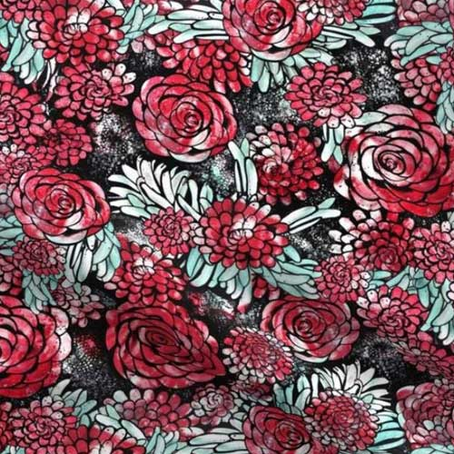 Large scale floral print in bold red and black