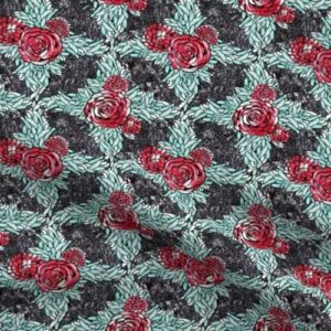 Fabric & Wallpaper: Lattice of Red Roses and Teal Leaves