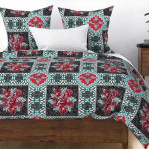 Fabric & Wallpaper: Wholecloth Quilt with Roses in Red, Teal, Black