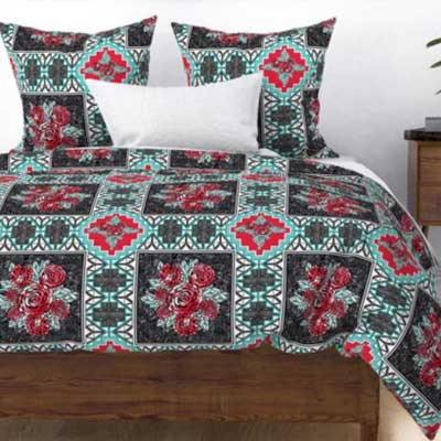 red rose wholecloth quilt duvet