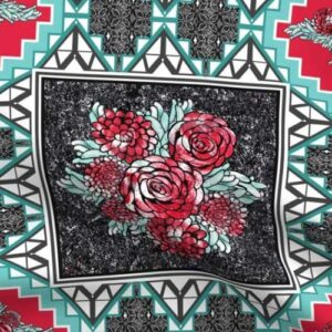 Wholecloth quilt squares with red roses