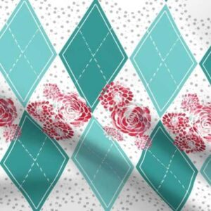 Teal argyle fabric with distressed rose prints