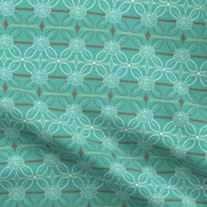 Teal fabric with brown stripes and roses