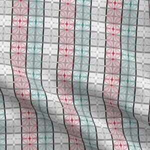 Fabric & Wallpaper: Geometric Tiles in Gray, Red, Teal