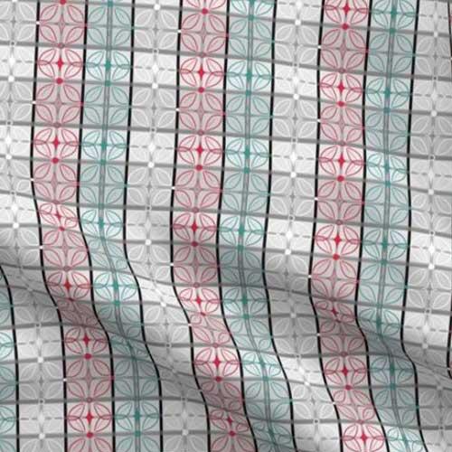 Geometric butterfly tiles in light gray