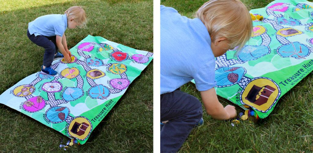Treasure hunt at the park play mat for preschooler