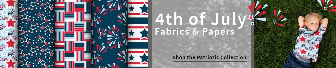 Fourth of July fabrics and papers for holiday sewing and crafting