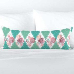 Fabric & Wallpaper: Boho Roses on Teal Argyle