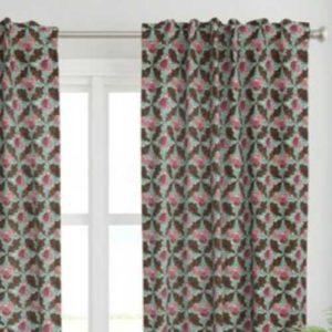 Fabric & Wallpaper: Boho Rose Trellis on Brown Stone