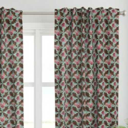 Curtains with boho rose lattice