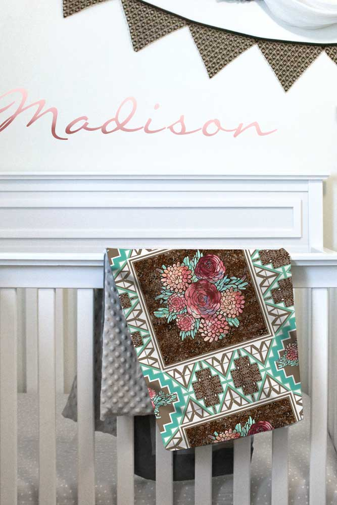 Boho modern floral baby wholecloth quilt