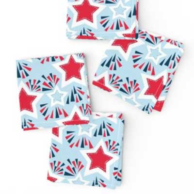 Napkins with stars and fireworks in red white and blue